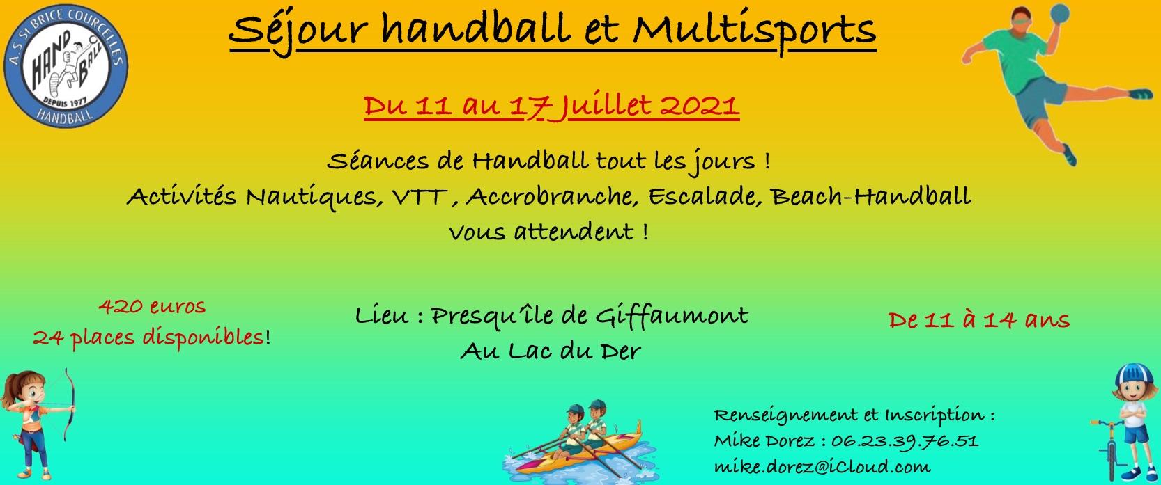 Séjour Handball et Multisports en juillet !